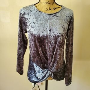 Pleione Crushed Velvet Blue Long Sleeve Top Small